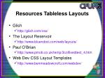 resources tableless layouts