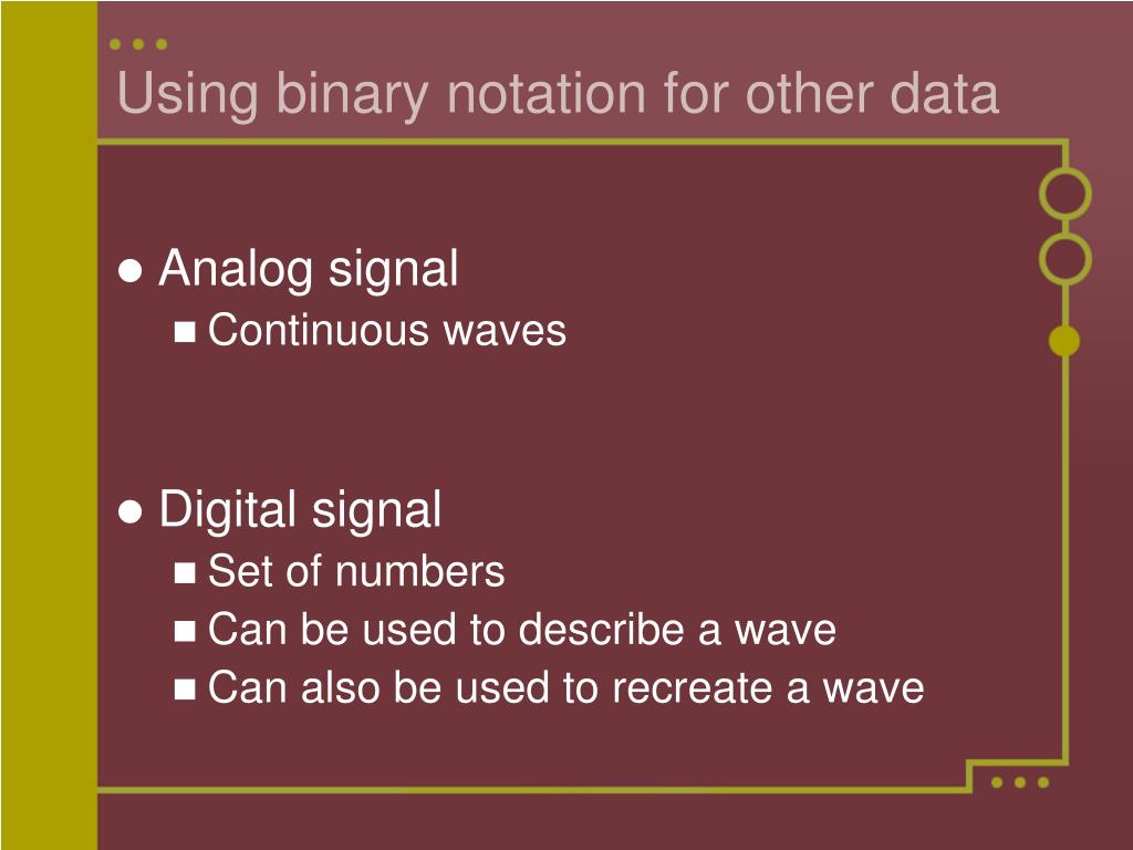 Using binary notation for other data