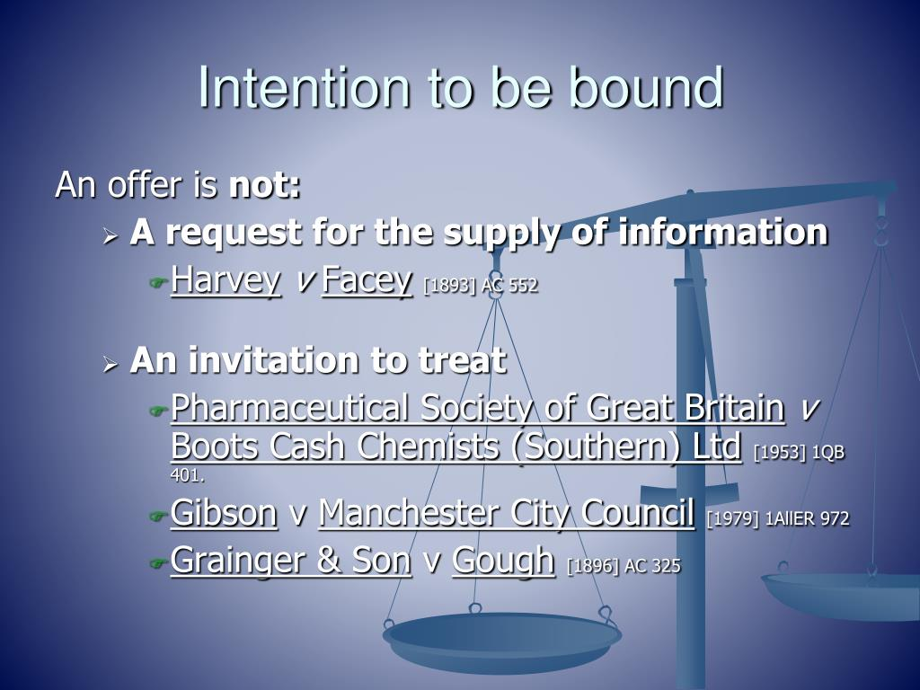 Intention to be bound