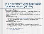the microarray gene expression database group mged