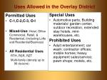uses allowed in the overlay district