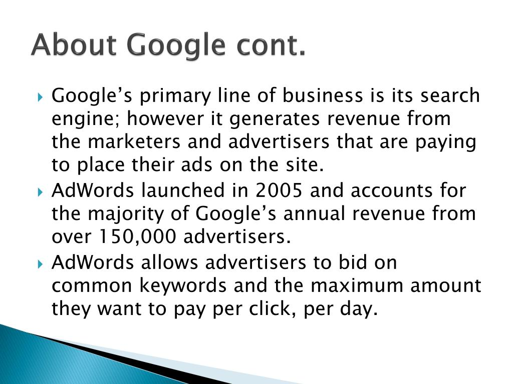 About Google cont.