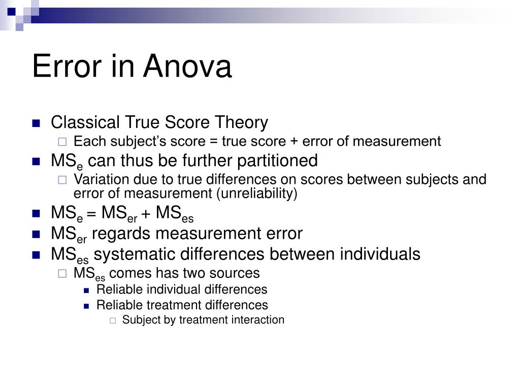 Error in Anova