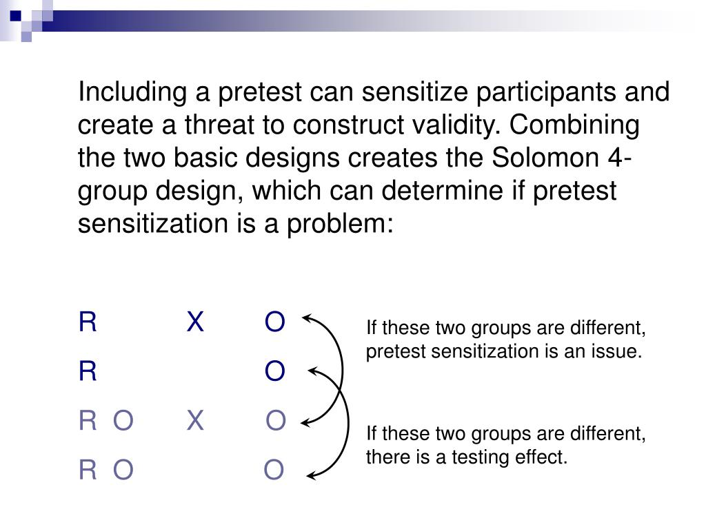 Including a pretest can sensitize participants and create a threat to construct validity. Combining the two basic designs creates the Solomon 4-group design, which can determine if pretest sensitization is a problem: