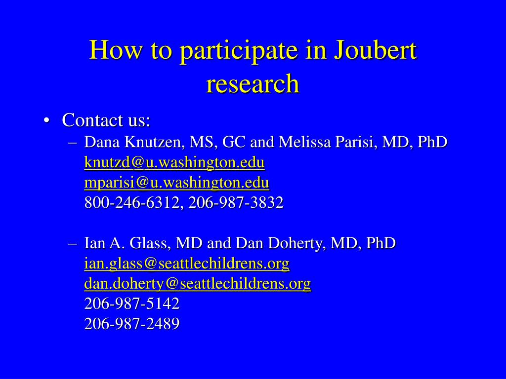How to participate in Joubert research