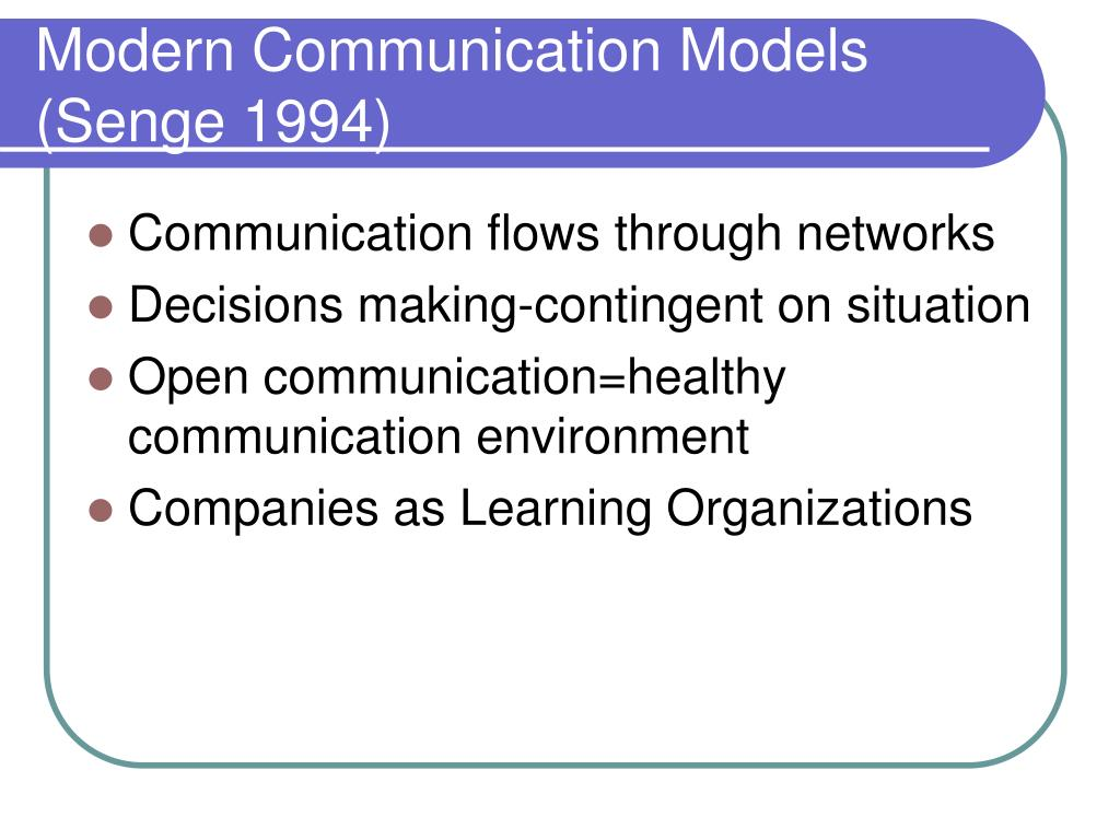 Modern Communication Models (Senge 1994)