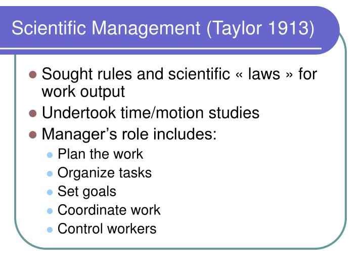 Scientific management taylor 1913