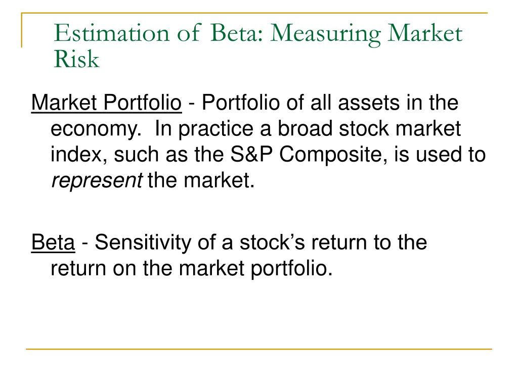 Estimation of Beta: Measuring Market Risk