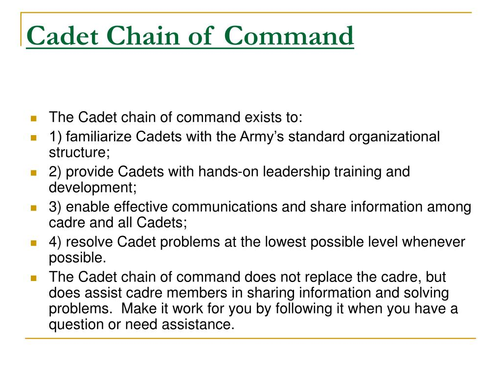 why is it important to follow your chain of command Why is it important to follow orders given the purpose of this essay is to further my knowledge of the army nco support channel, chain of command and why we, as soldiers, use them i will also be explaining the importance of obeying a lawful order from a first sergeant and performing that order in a timely manner.