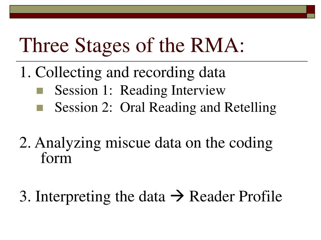 Three Stages of the RMA: