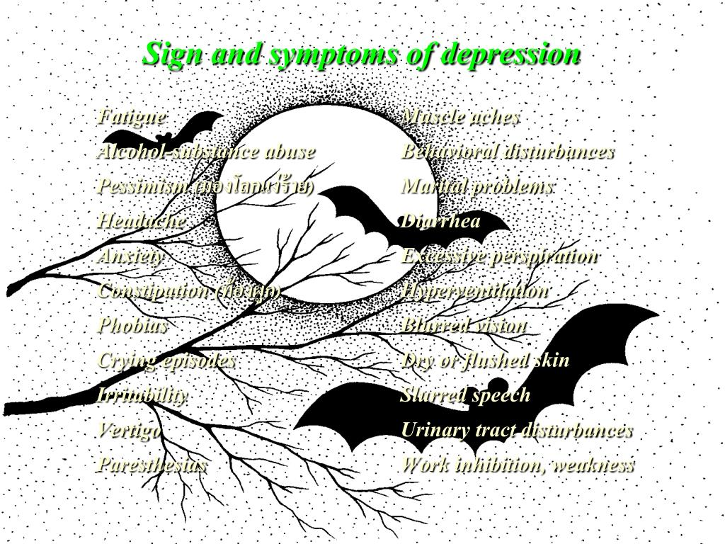 Sign and symptoms of depression