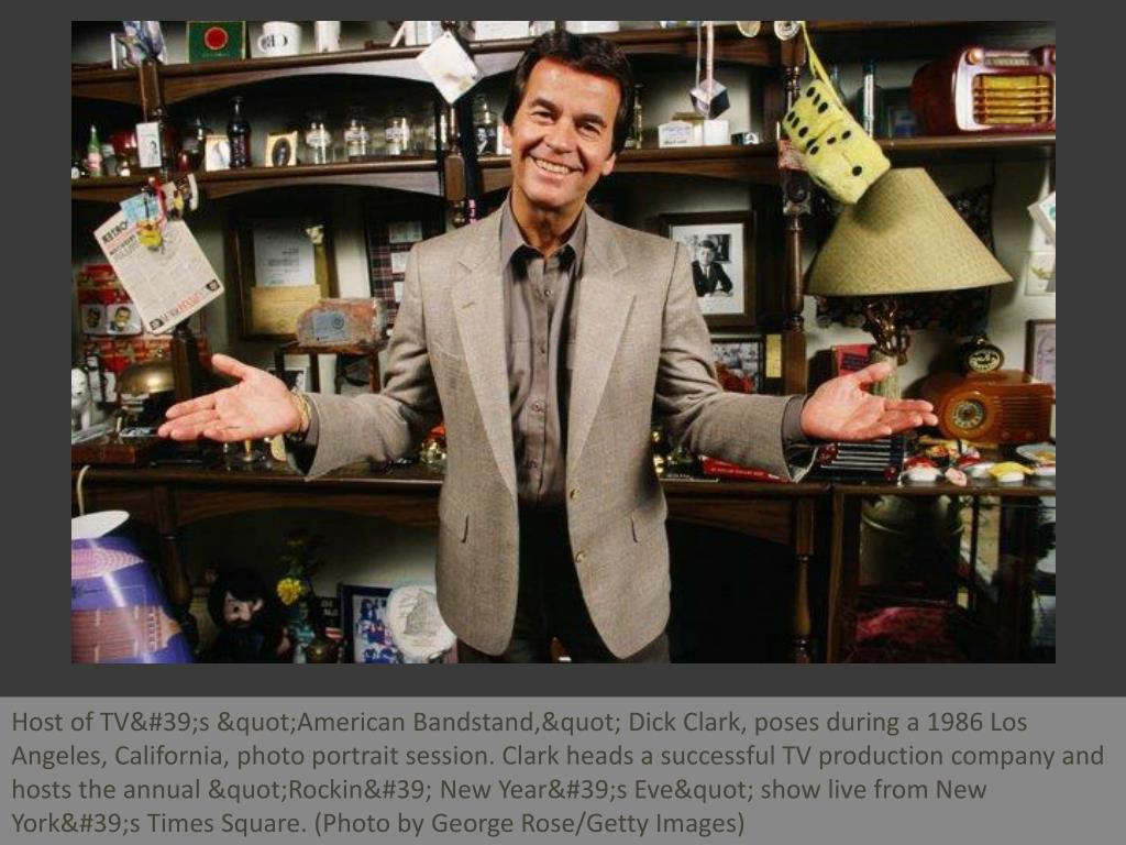 "Host of TV's ""American Bandstand,"" Dick Clark, poses during a 1986 Los Angeles, California, photo portrait session. Clark heads a successful TV production company and hosts the annual ""Rockin' New Year's Eve"" show live from New York's Times Square. (Photo by George Rose/Getty Images)"