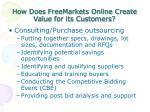 how does freemarkets online create value for its customers