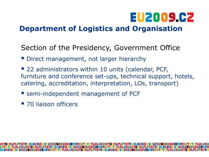 Department of Logistics and Organisation