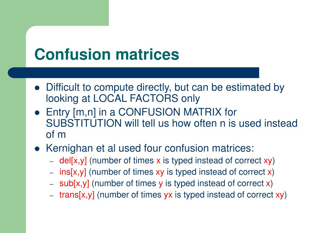 Confusion matrices