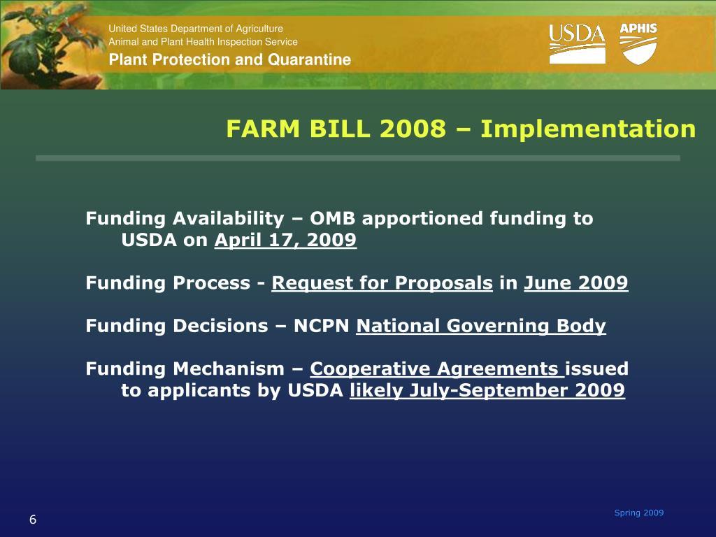 FARM BILL 2008 – Implementation