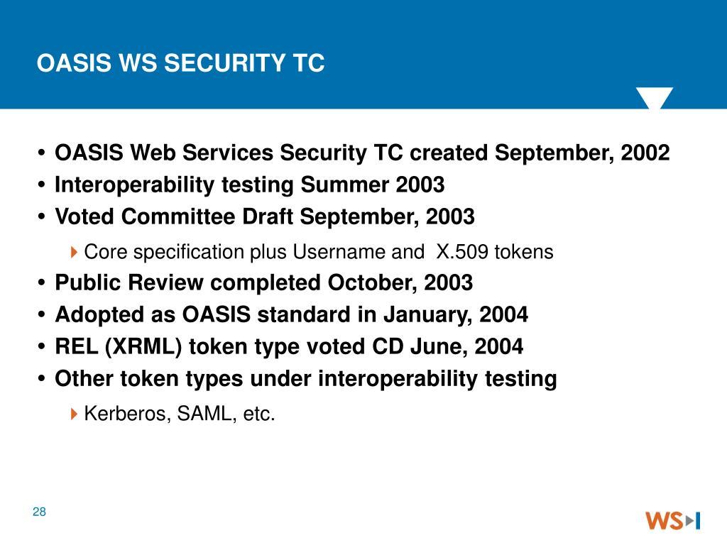 OASIS WS SECURITY TC