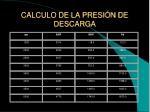 calculo de la presi n de descarga
