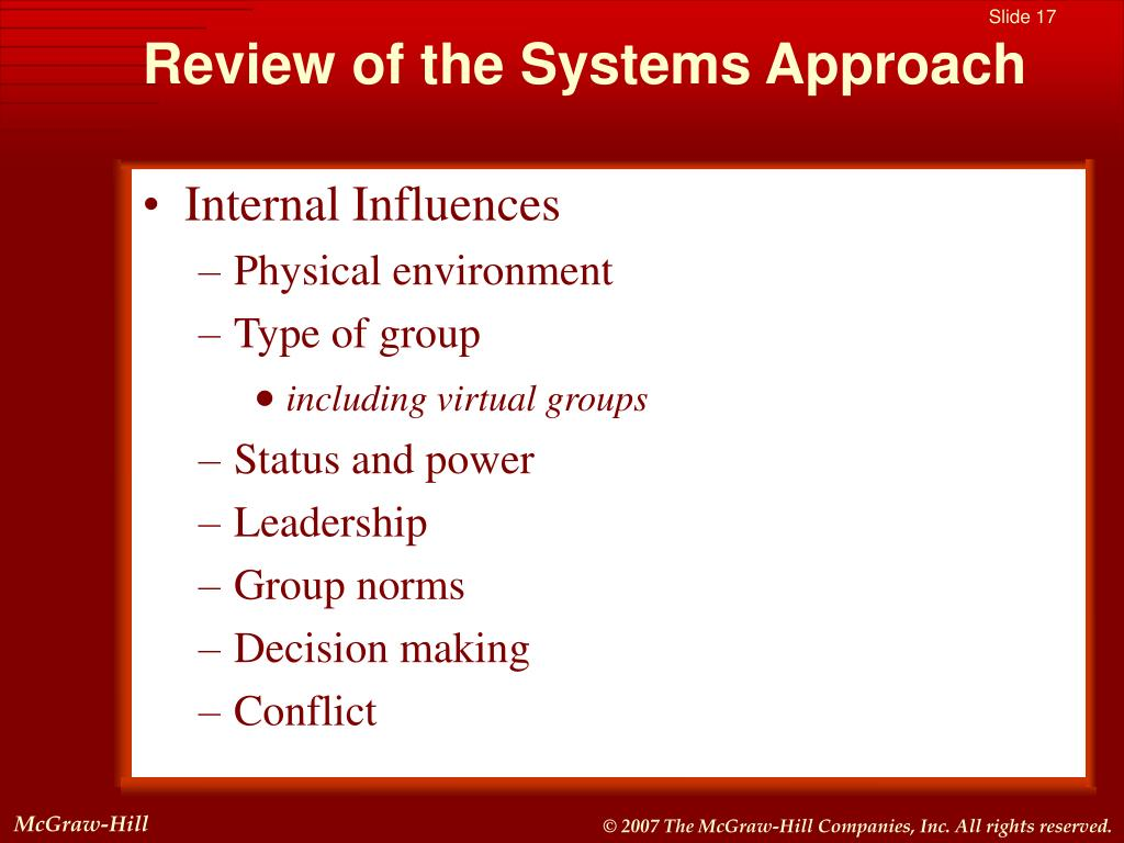 Review of the Systems Approach