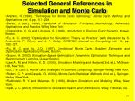 selected general references in simulation and monte carlo