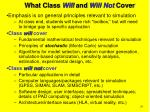 what class will and will not cover