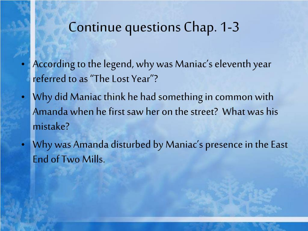 Continue questions Chap. 1-3