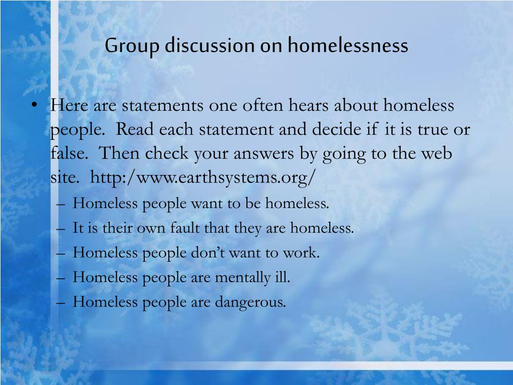 Group discussion on homelessness