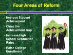 four areas of reform