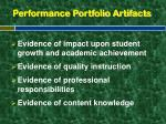 performance portfolio artifacts