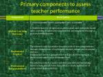 primary components to assess teacher performance