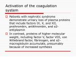 activation of the coagulation system