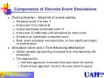 components of discrete event simulations