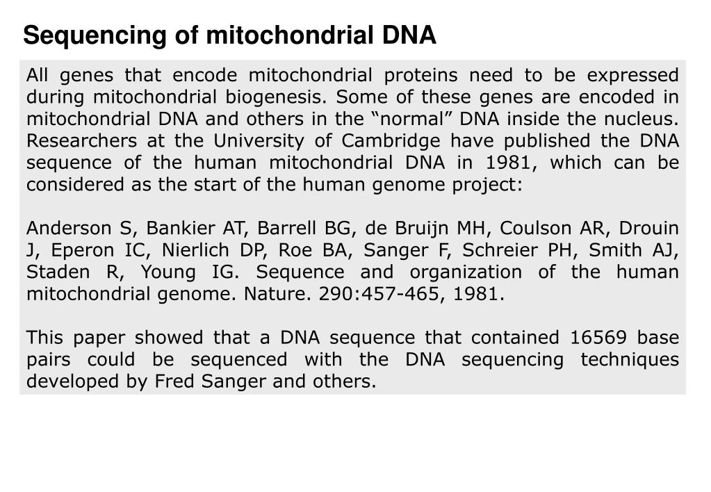 Sequencing of mitochondrial DNA