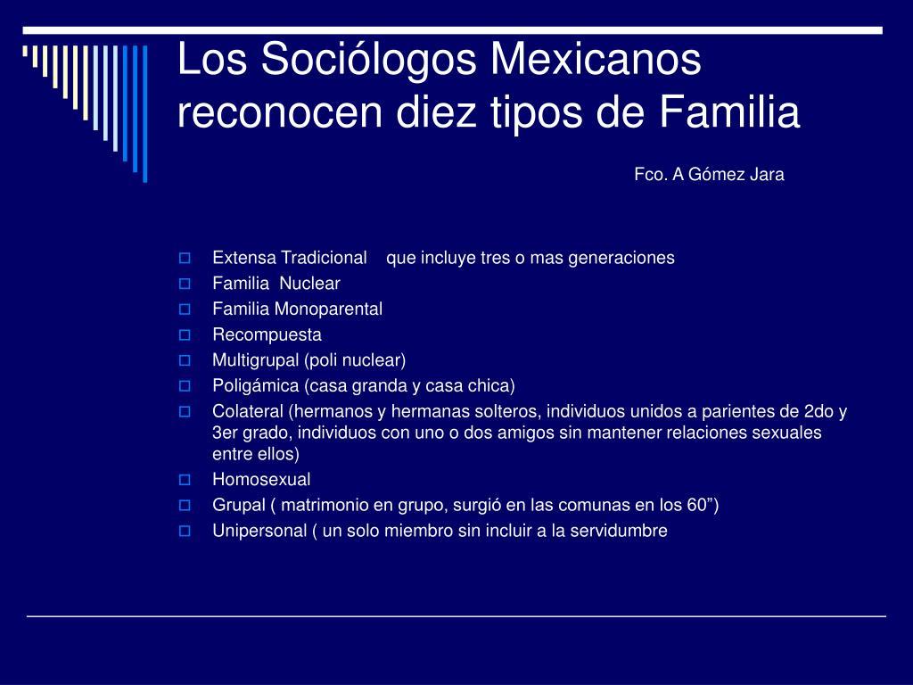 Los Sociólogos Mexicanos reconocen diez tipos de Familia