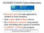 cleaner cuahsi cybercollaboratory