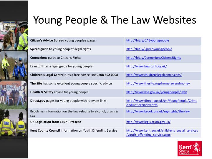 Young people the law websites