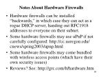 notes about hardware firewalls