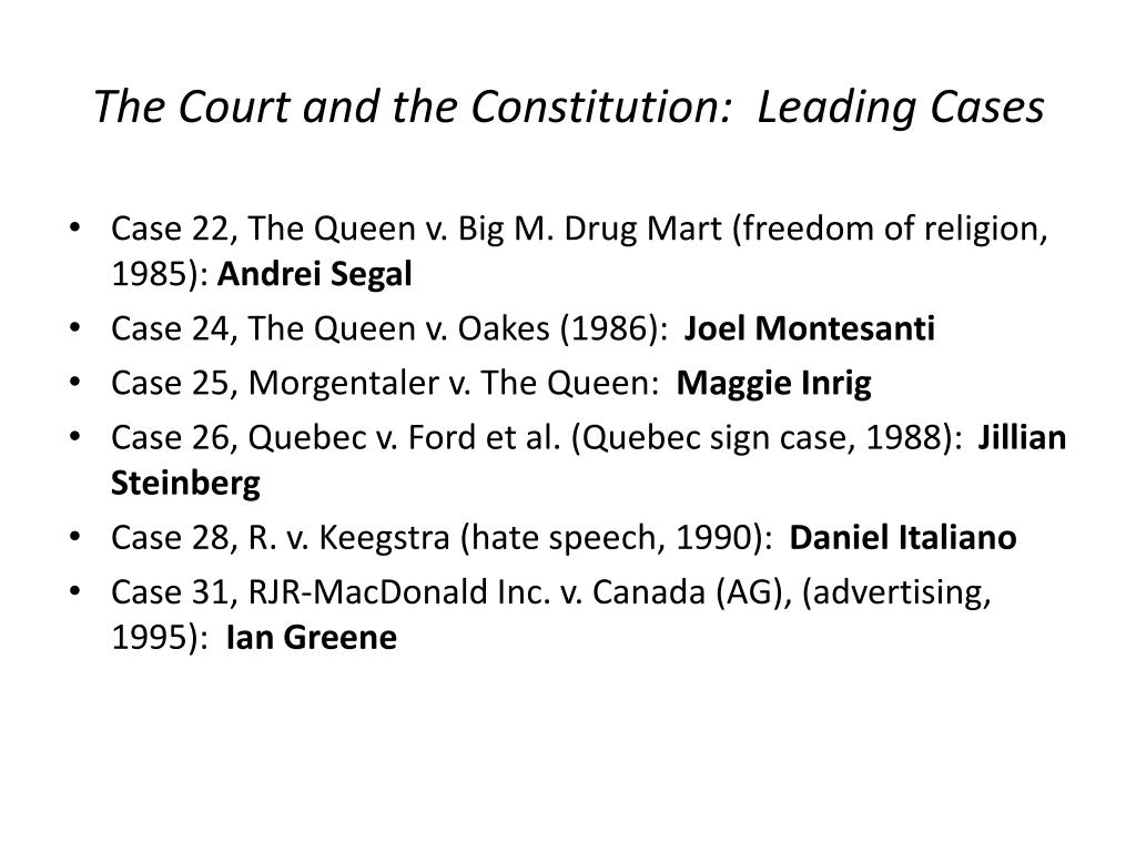 The Court and the Constitution:  Leading Cases