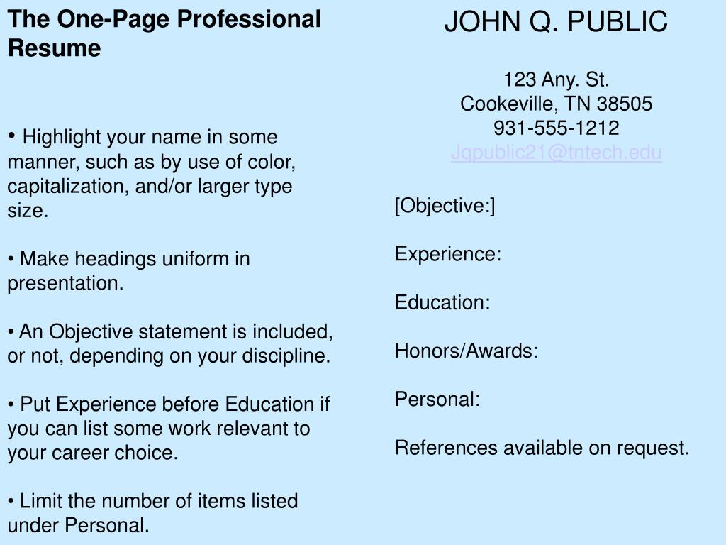 The One-Page Professional Resume