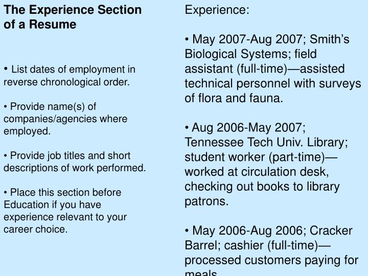 The Experience Section of a Resume