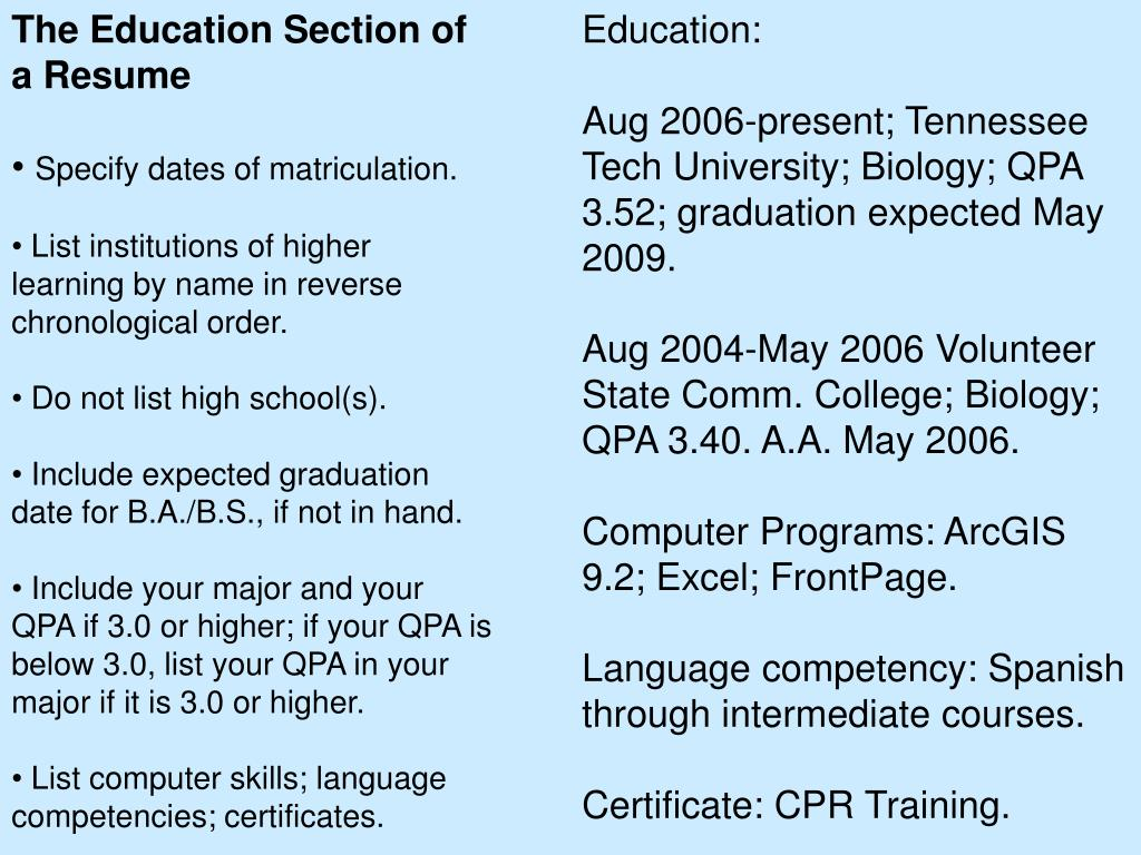 The Education Section of a Resume