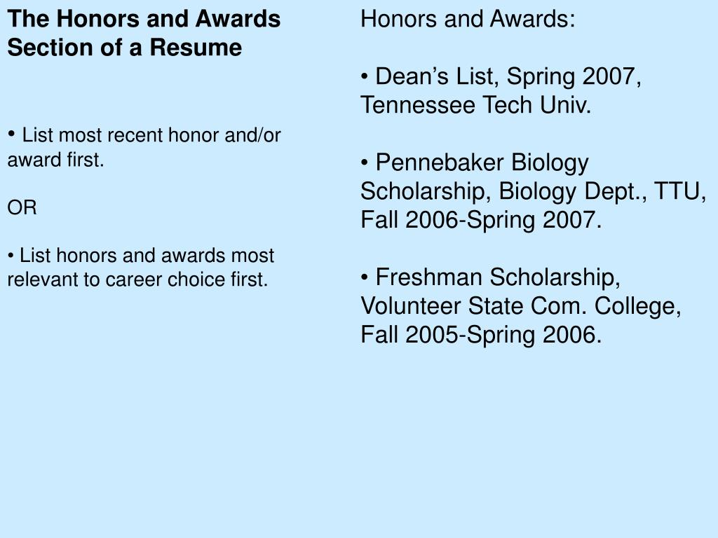 The Honors and Awards Section of a Resume