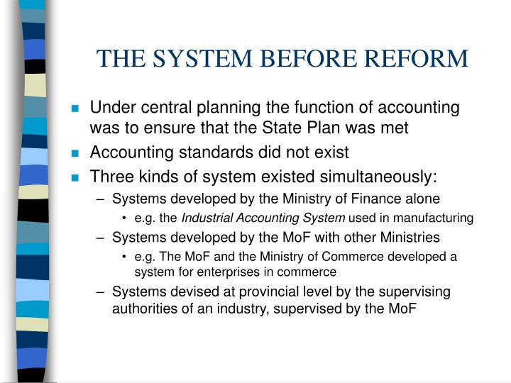 The system before reform