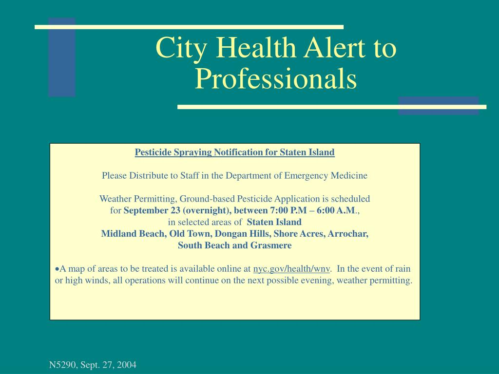 City Health Alert to Professionals