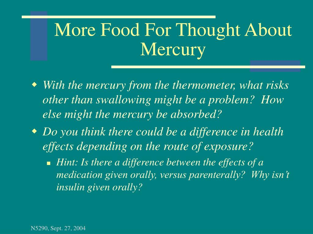 More Food For Thought About Mercury
