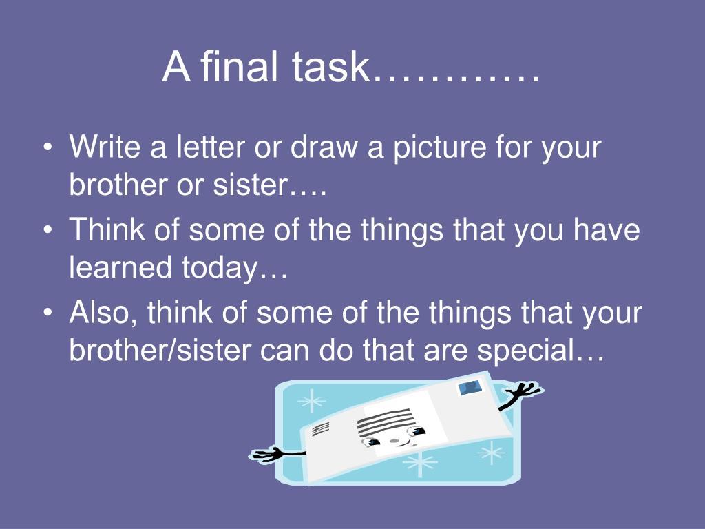 A final task…………