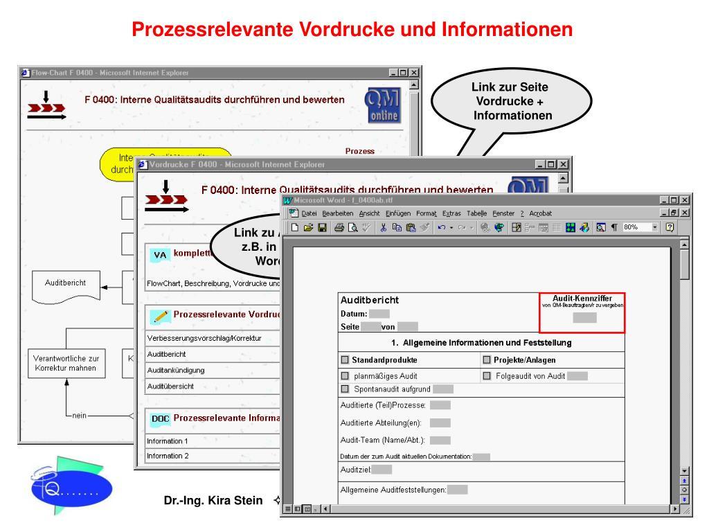Prozessrelevante Vordrucke und Informationen