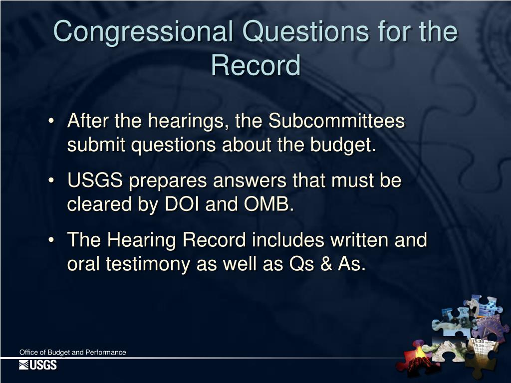 Congressional Questions for the Record