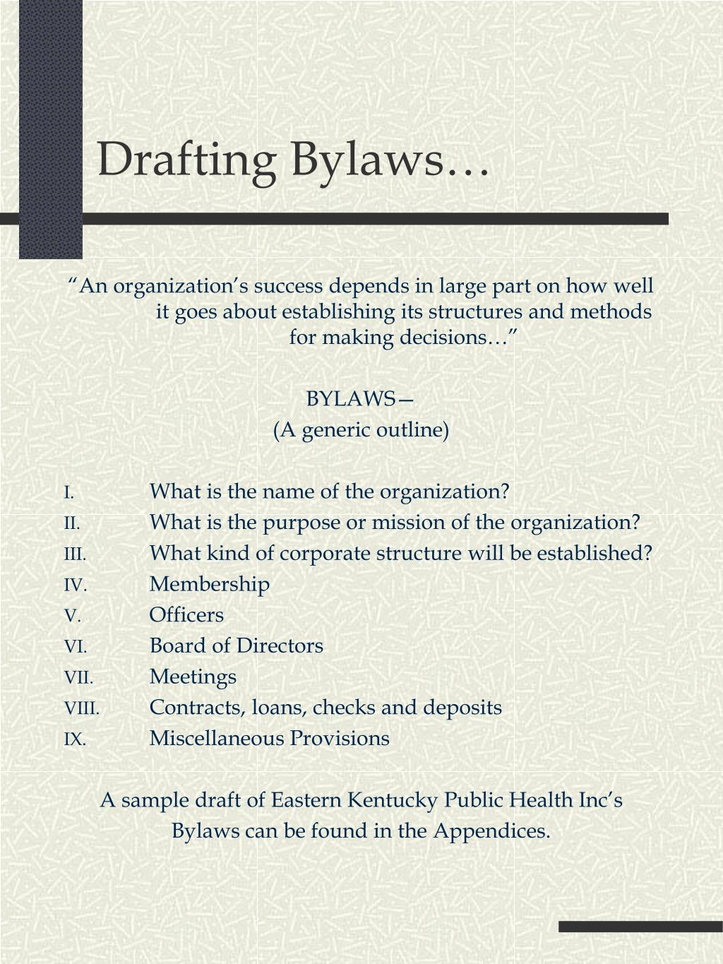 Drafting Bylaws…