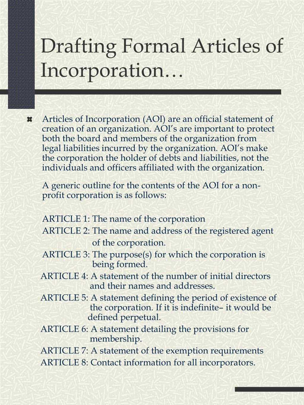 Drafting Formal Articles of Incorporation…